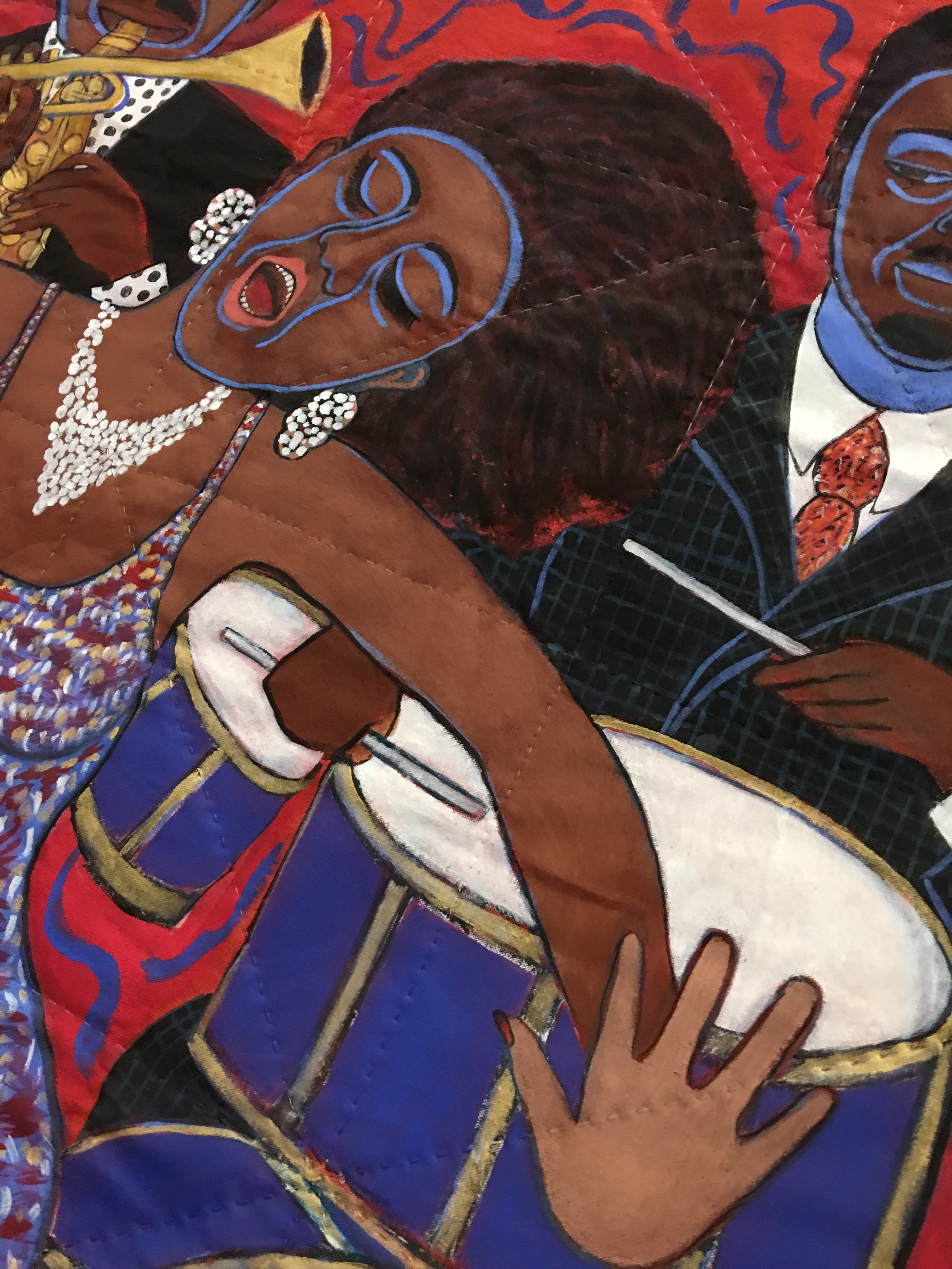 """Detail of """"Jazz Stories: Mama Can Sing, Papa Can Blow"""" by Faith Ringgold"""