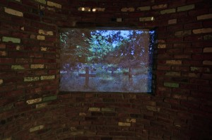 Daniel Phillips, Convent of St. Mary, Architectural installation and video, approx. 12 x 10 x 10 feet, Courtesy of the artist and DODGE Gallery